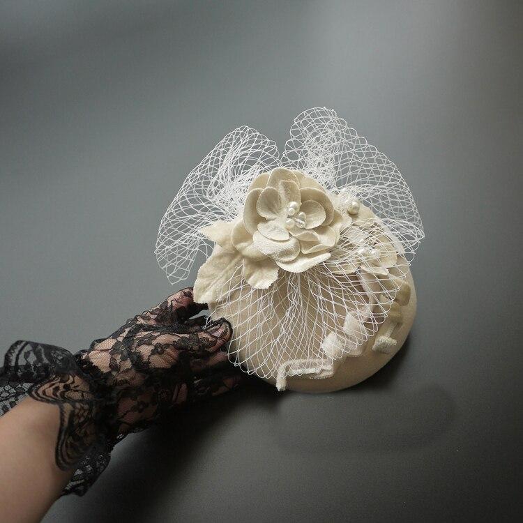 Beige Wedding Hat With Mesh Veils Cocktail Party Hat Mesh Bridal Hats White Wedding Fascinators Headpiece Flower Bride Headwear