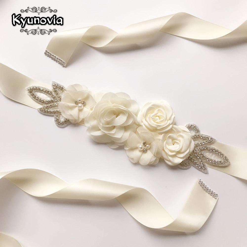 Kyunovia Wedding Accessories  Bridal Wedding Belts Satin Flower Sash Woman Girl Sash Belt Wedding Sashes Belt D16
