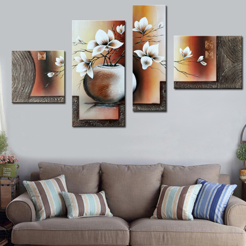 Modern Exquisite 4 Panel Home Decor Oil Painting Calligraphy Beautiful White Flower in Pot 100 Hand