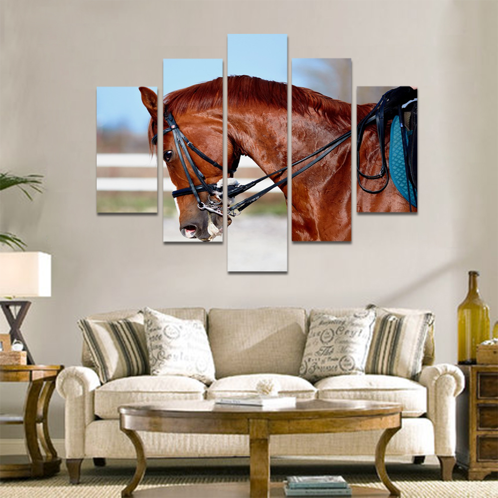Unframed Canvas Animal Painting Brown horse Racecourse Prints Wall Picture For Living Room Wall Art Decoration Dropshipping