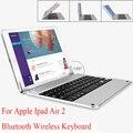 Ouro/cinza/prata marca para apple ipad air air 2 teclado bluetooth teclado sem fio da liga de alumínio caixa de proteção inteligente mudar