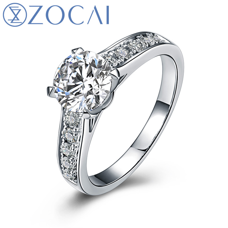 Real 1.0 CT Certified F-G/SI Round Cut Diamond Engagement Women Ring 18K White Gold (AU750) W04635