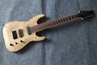 Spalted maple Top string through Body 7 String Electric Guitar Guitarra arched body top 7 string guitar