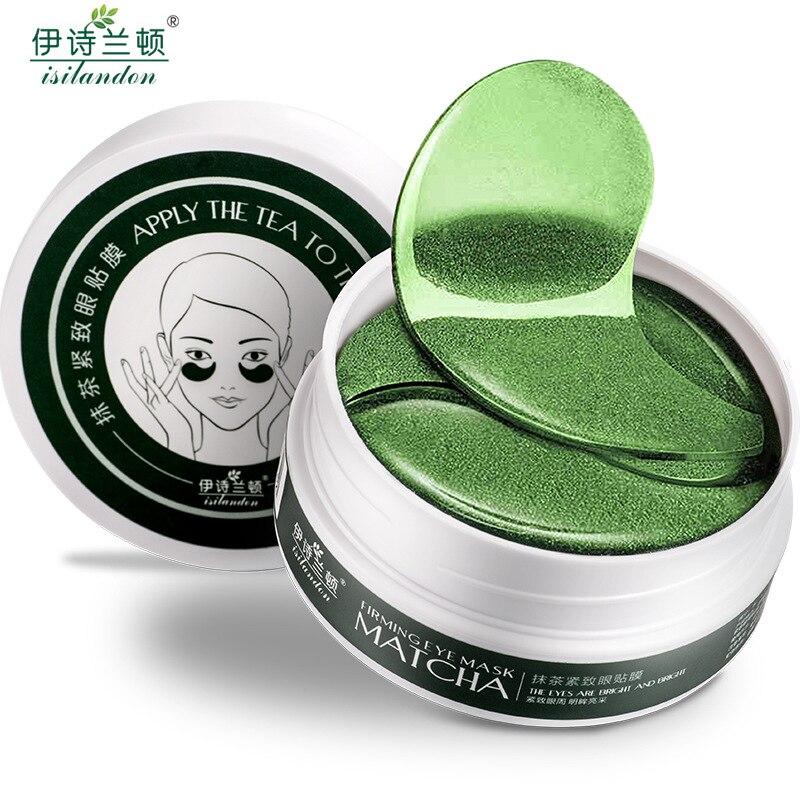 ISILANDON Green Tea Collagen Eye Mask Face Care Ageless Anti Aging Eye Bags Dark Circles Moisturizing