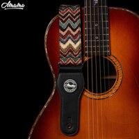 Amumu Pure Cotton Woven Guitar Straps 90 160cm Length With Leather End 5cm Width For Folk