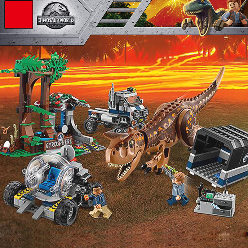 Compatible Legoinglys 75929 Jurassic World Dinosaur the Carnotaurus Gyrosphere Escape Model Set Building Blocks Toy for Children