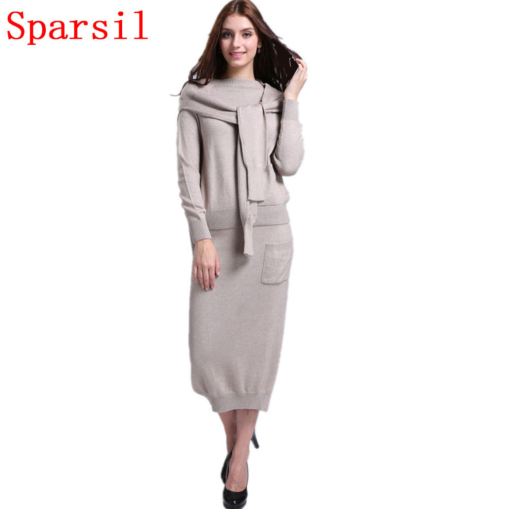 ᗐsparsil Womens Autumnwinter Cashmere Blend Knitted O Neck