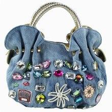 Women Casual Handbag Lady Canvas Diamonds Totes Women's Fashion Designer Hobos Lady's Solid Zipper Bag Free Shipping