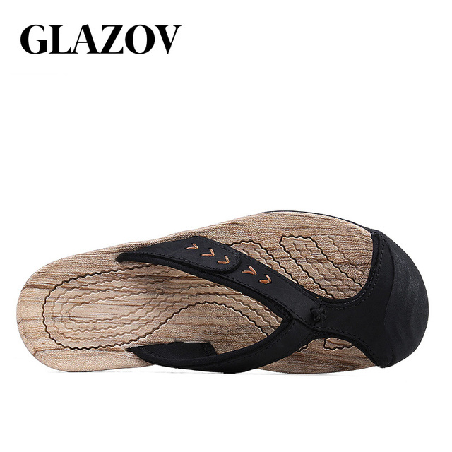 GLAZOV Brand Men's Flip Flops High Quality Genuine Leather Luxury Slippers Beach Casual Sandals Summer for Men Fashion Shoes New 2