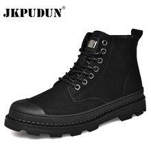 Черные Теплые зимние мужские ботинки ботильоны из натуральной кожи Мужская зимняя рабочая обувь мужские зимние ботинки на меху в Военном Стиле, Botas JKPUDUN