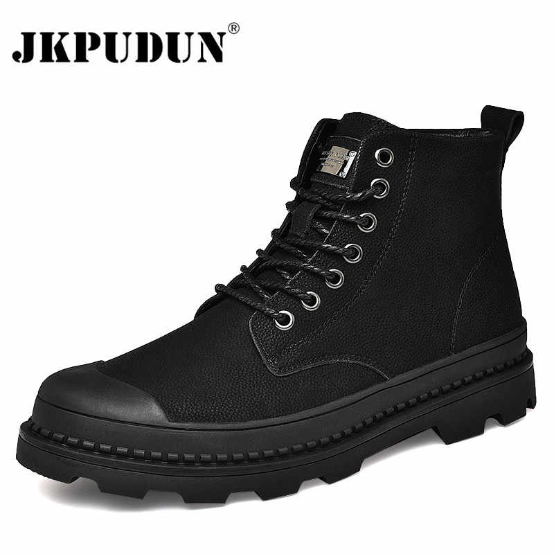 Черные Теплые зимние мужские ботинки; ботильоны из натуральной кожи; Мужская зимняя Рабочая обувь; мужские зимние ботинки на меху в военном стиле; Botas JKPUDUN