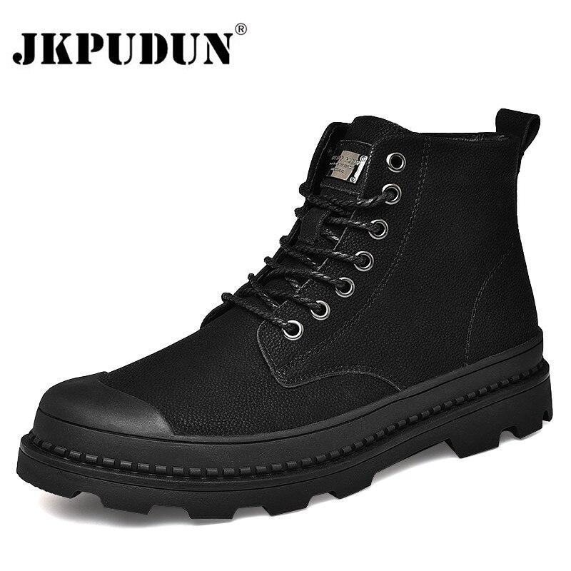 Black Warm Winter Men Boots Genuine Leather Ankle Boots Men Winter Work Shoes Men Military Fur Snow Boots For Men Botas JKPUDUN