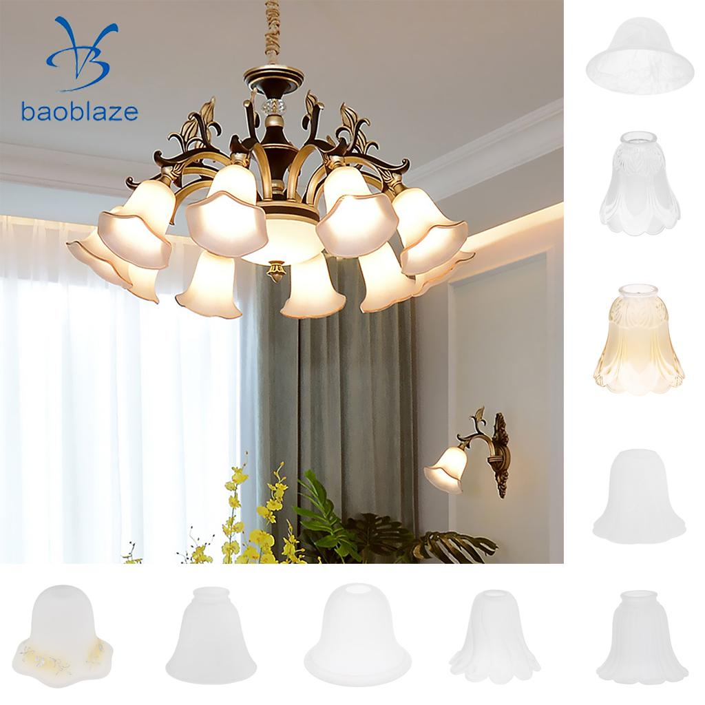 3 Pieces #6 Frosted Glass Ribbed Bell Light Shades Chandelier Lamp Pendant pearl beading exaggerate bell sleeve ribbed tee