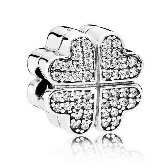 925 Sterling Silver Bead Charm Pave Crystal Petals of Love Clip Clip Lock Stopper Beads Fit Pandora Bracelet & Necklace Jewelry925 Sterling Silver Bead Charm Pave Crystal Petals of Love Clip Clip Lock Stopper Beads Fit Pandora Bracelet & Necklace Jewelry