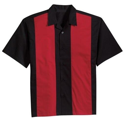 Estilo retro vintage clothing camisa dos homens tops camisa rocknroll projeto alternativo para o homem de algodão preto vermelho roupas contraste de cores xl