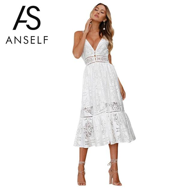 a949459b226 Anself Women Lace Crochet Panel Smocked Sleeveless Dress Summer Spring V  Neck Lace Draped Mid-calf A Line Dress White Solid Robe