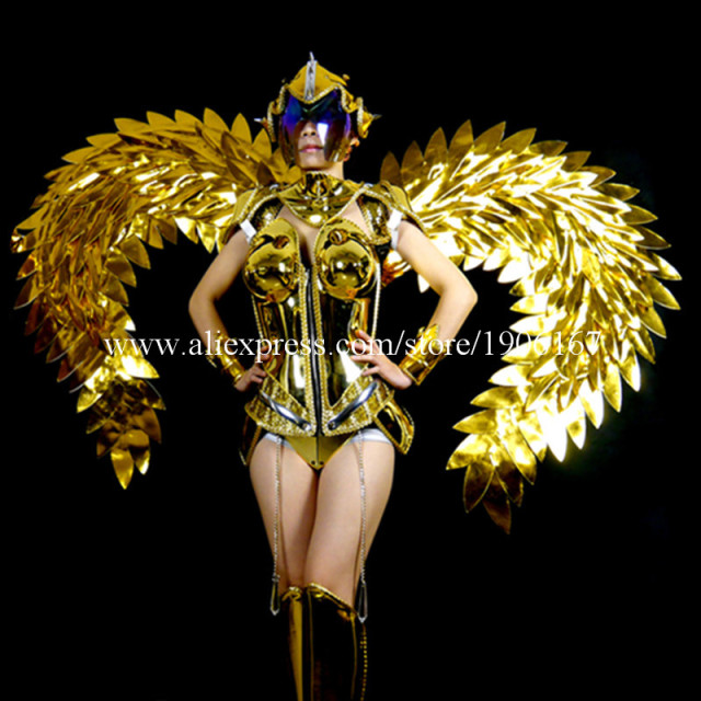 Victoria Catwalk Show Gold Plated Mirror Dance Wings Dress Costumes Stage Performance Cosplay Women Clothes Party Supplies