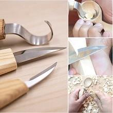 5pcs High Manganese Steel Peeling Woodcarving Cutter Woodwork Sculptural DIY Wood Handle Spoon Carving Knife Woodcut Tools