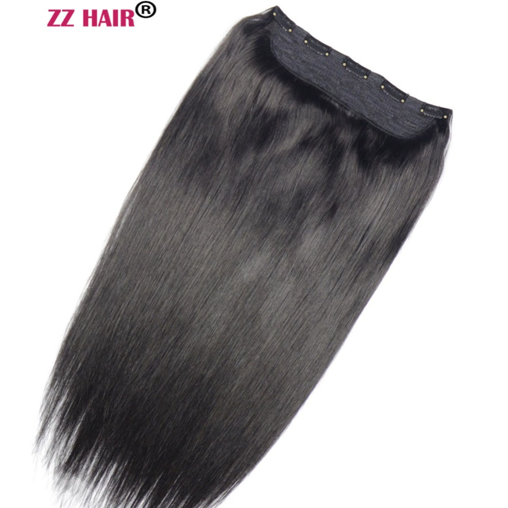 "ZZHAIR 100g-200g 16""-24"" Machine Made Remy Hair One piece Set 5 Clip-in 100% Human Hair Extensions Natural Straight Hair(China)"