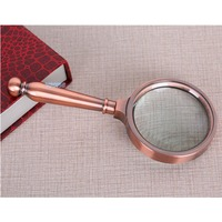 8X 65mm Retro Coppery Frame Metal Handle Loupe Jewelry Reading Pocket Fresnel Lens Holder Magnifying Glass Hand Magnifier