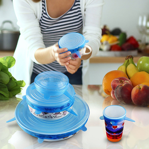 Image 4 - Universal Silicone Stretch Lids Lid 6PCS Easy Vacuum Seal Stretch Sealer Bowl Pan Pot Caps Cover Kitchen Cookware Accessories