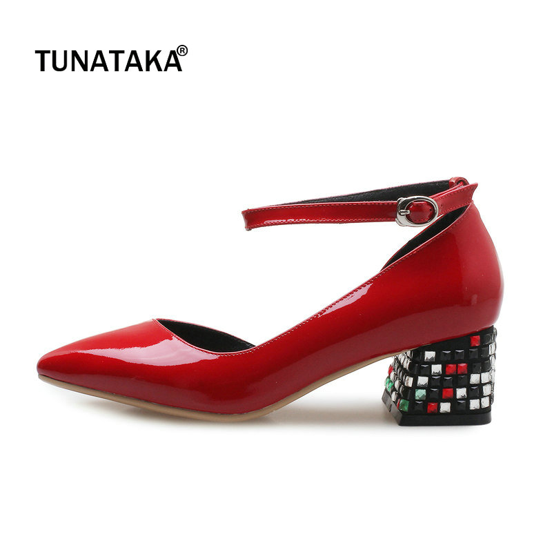 Woman Genuine Leather Comfort Square Heel Woman Ankle Starp Woman Pumps Fashion Pointed Toe Dress High Heel Shoes Black Red