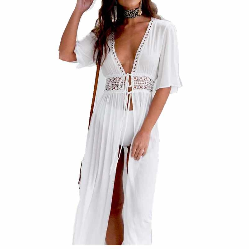 af74c45ad939 Elegant Hollow Out Women Summer Dress Short Sleeve Waistband Split White  Dress V Neck Lace Sundress
