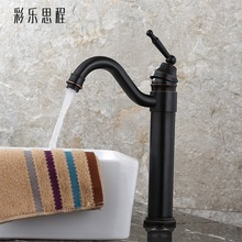 цена на Black antique art basin basin top retro faucet plus high basin face heightening hot and cold copper all European faucet