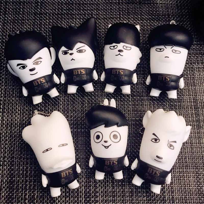 LNRRABC Fashion Cute KPOP BTS Cellphone Pendants Bangtan Boys Suga Key Chains Key Rings Cellphone Accessory Gift