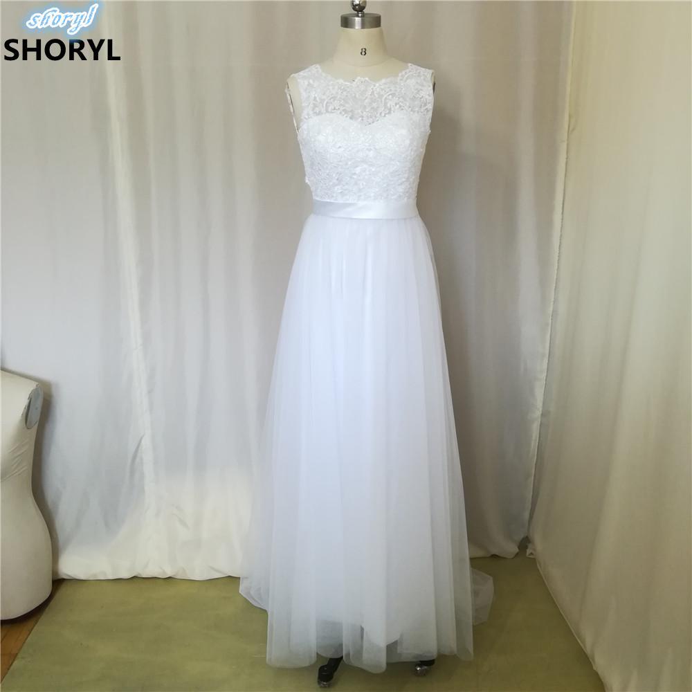 2017 New Lace O Neck Lace Tulle Boho Cheap Wedding Dresses
