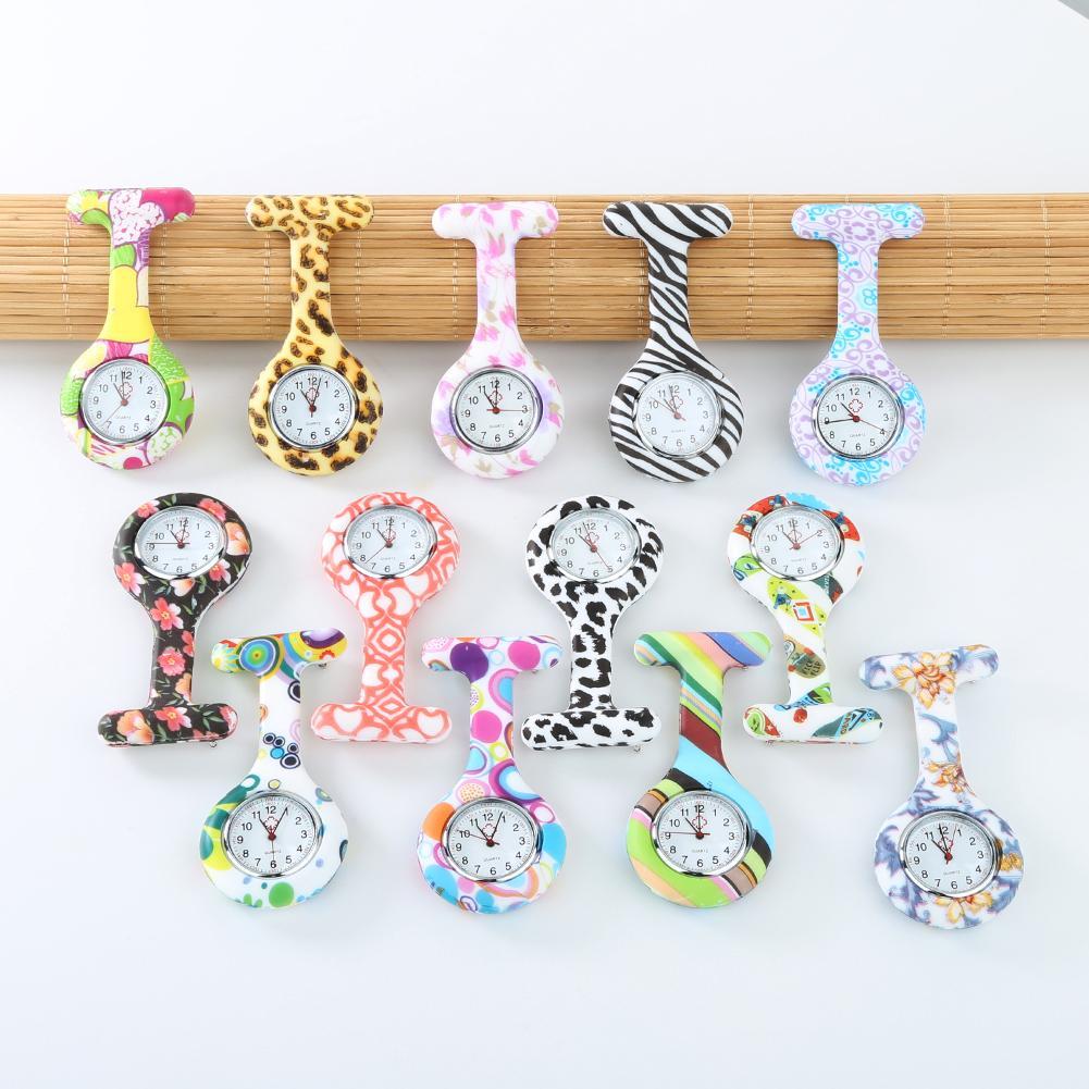 Arabic Numerals Round Dial Silicone Nurses Brooch Tunic Fob Watch