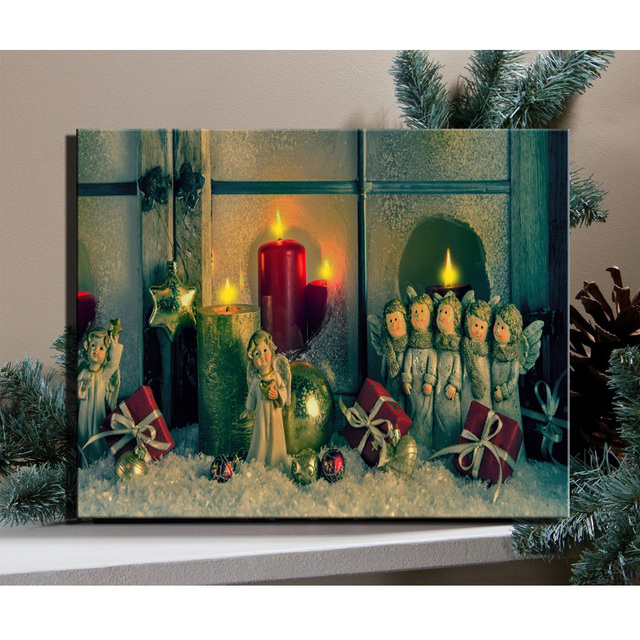 canvas wall art with led lighted up flicking candles with angel toys snowy for christmas wall - Lighted Christmas Wall Decorations