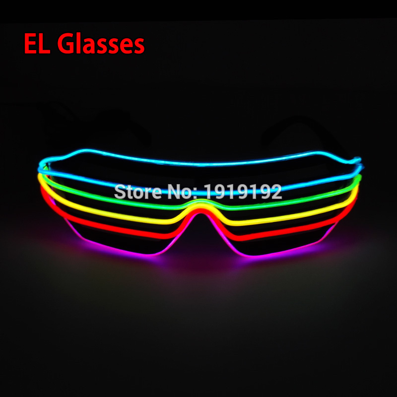 2017 EL LED Glasses Luminous Colorful Glowing Classic 6 color/ 7Color For DJ Party Decoration With DC-3V Sound Active Inverter