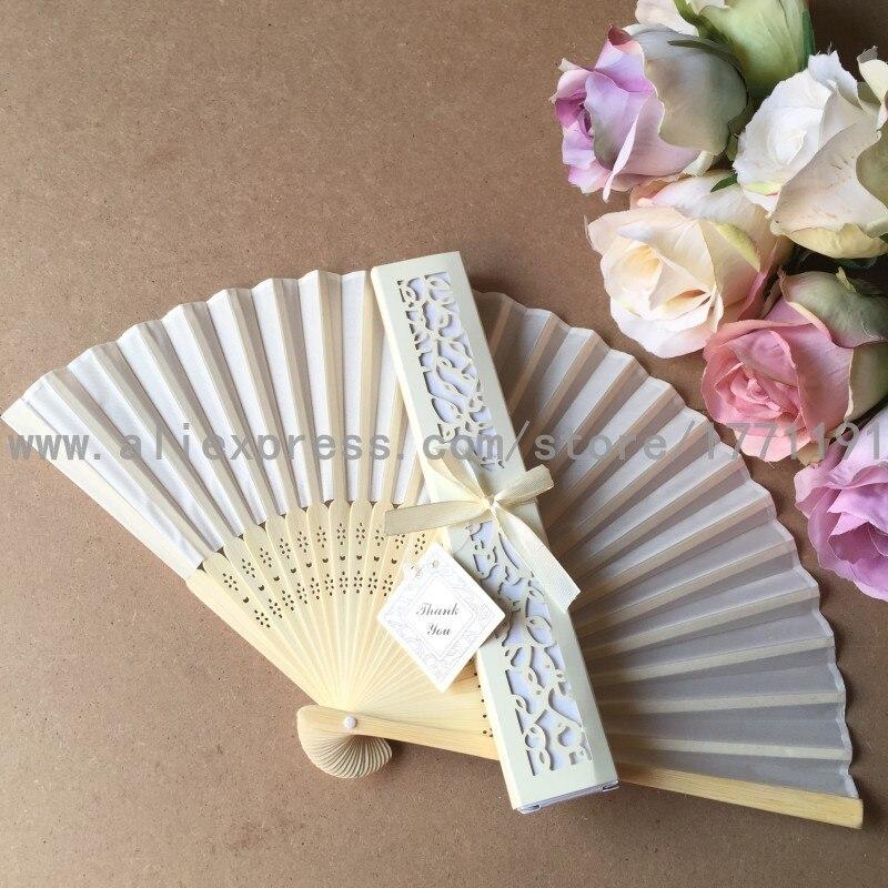 Free shipping 50Sets/Lot Elegant Silk folding Fan with Luxury Laser-Cut Gift Box + Thank you Card + Ribbon for wedding favor