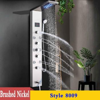 LED Shower Panel Stainless Steel Wall Mount Shower Column Panel Tower System LED Rain Waterfall Shower Jets Tap Hand Shower Tub 7