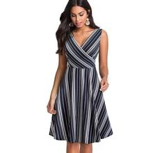 Summer Women Elegant Sleeveless Dark Blue White Striped Dress Sexy V-Neck Swing Vintage A-line Dress Vestidos EA097