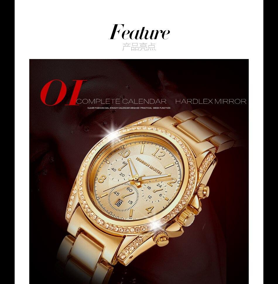 Quartzo Calendário Cinta de Aço relógio de Pulso relogio feminino