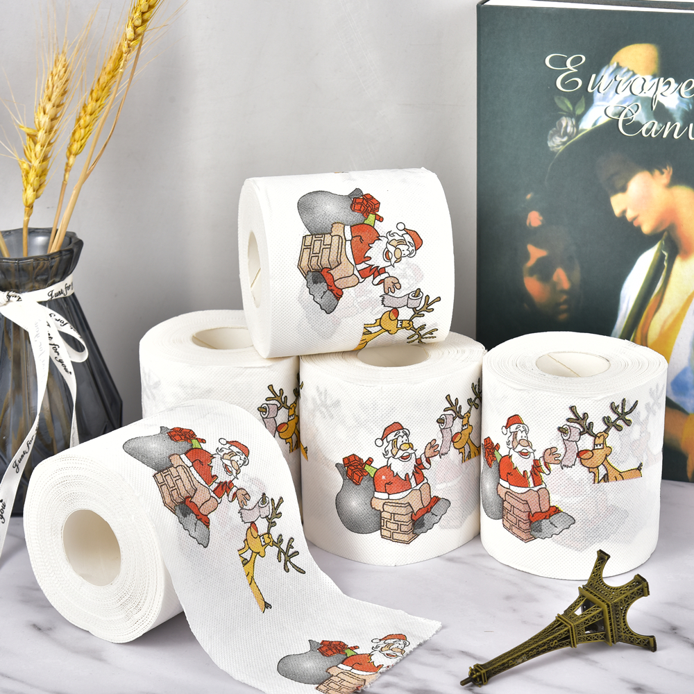 New Year Gifts 22m/Roll Santa Claus Reindeer Christmas Toilet Paper Christmas Decorations For Home Natale Noel Navidad 2019,Q
