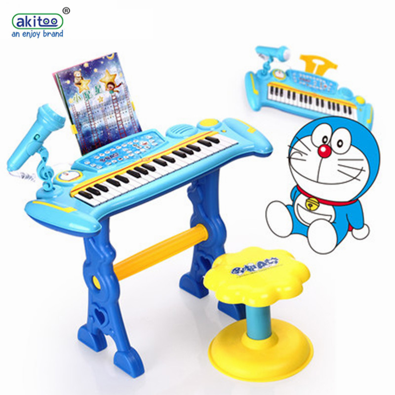 Akitoo 418 microphone de musique pour enfants avec tabouret microphone d'instrument de simulation petit jouet de piano cadeaux d'éducation précoce pour bébé