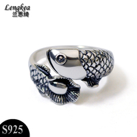Free shipping 925 sterling silver jewelry personality vintage Arowana ring boys girls silver accessories pinky opening ring gift
