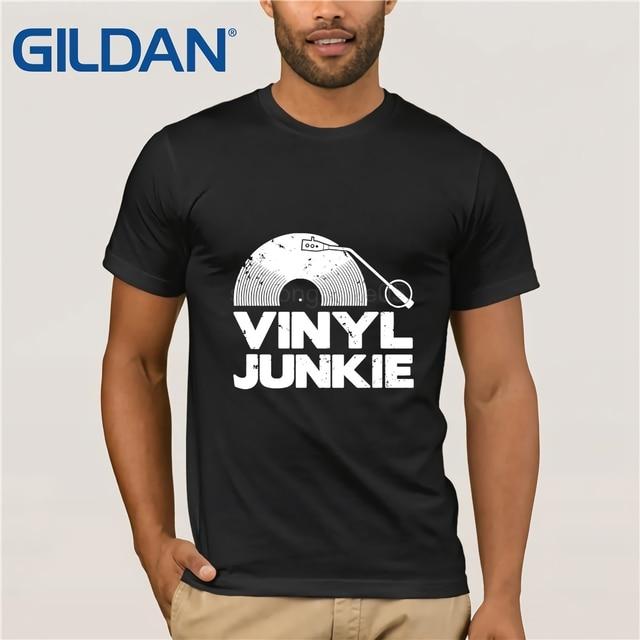 Vinyl Junkie White Logo T SHIRT Tee Music Vintage Dj Funny Gift Birthday Shirt Men Casual Cotton Short Sleeve