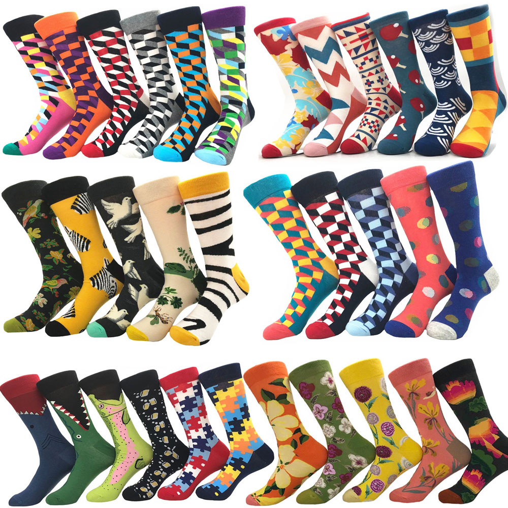 New happy Mens socks Women animal alien chili Moustache sloths Novelty Sock combed cotton funny Socks Men's big size Crew Socks(China)