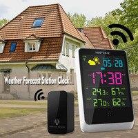 Wireless Digital Alarm Clock Outdoor Transmitter Indoor Receiver Home Office Temperature Humidity Gauge Weather Station Clock