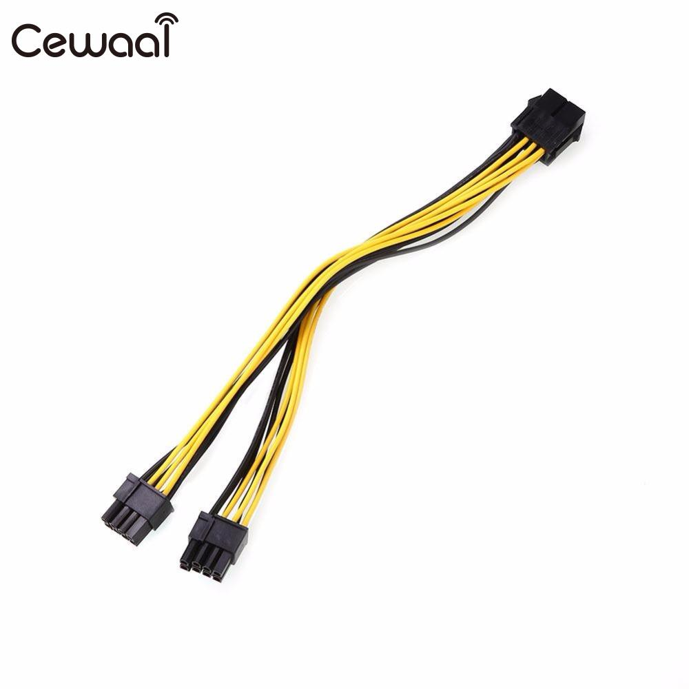 CEWAAL 8-pin PCI Express To Pcie 8 Pin Computer Motherboard Extension Power Cable Cord 8-pin PCI to 2pcs 6 + 2pin power cord 21cm 8pin to 6 2pin 8 pin pci express pcie power extension cable male to female graphics extension cable p0 11