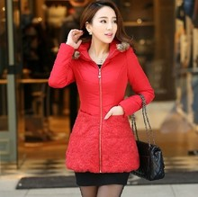 Size XL 4XL 5XL 6XL Parkas 2014 New Winter Female Coat Real Fur Hood Thickening Casual