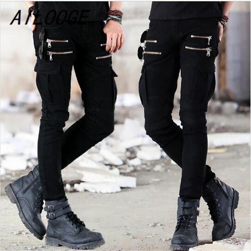 AILOOGE 2017 New Green Black Denim Biker jeans Mens Skinny Runway Distressed slim elastic jeans hiphop Washed HZ443 free shipping 2pcs sk40 40mm shaft support cnc router sh40a