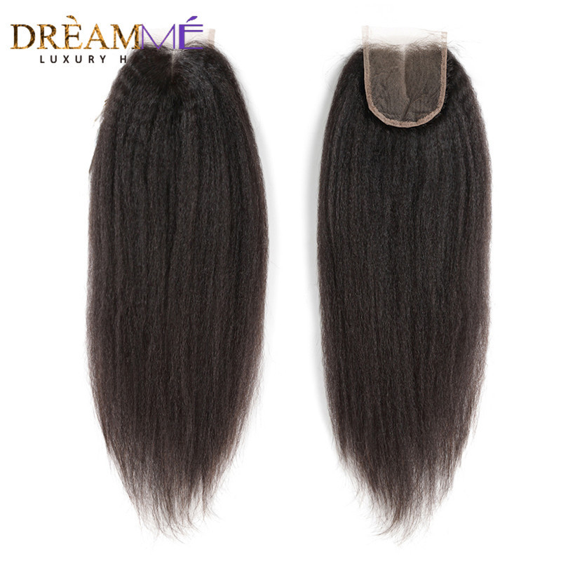 Brazilian Kinky Straight 4X4 Lace Closure With Baby Hair Corse Yaki Closure 100 Remy Human Hair