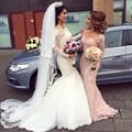 Venta caliente del hombro de manga larga de encaje blanco vestido de novia sirena