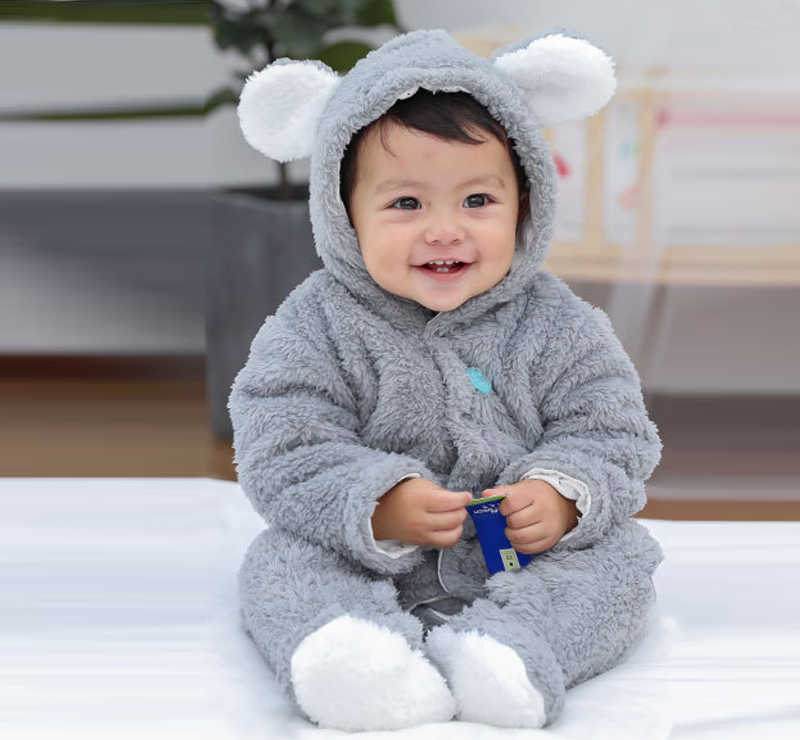 d648389cad58 ... new arrival Newborn baby winter rompers long sleeve toddler boys girls  Hairy jumpsuits for baby infant ...