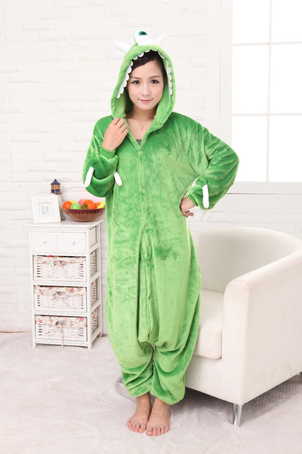 Monsters, Inc. Footed One Piece Pajamas Onesie Cosplay  Costume Flannel Cartoon Animal Adult Male Lady Couple Siamese Nightwear